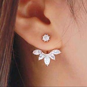 Silver Dainty Leaf cubic Zirconia Earrings